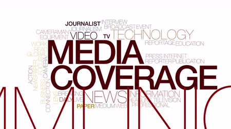 jornalismo : Media coverage animated word cloud. Kinetic typography. Stock Footage