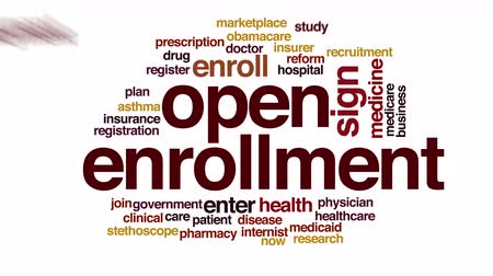 вводить : Open enrollment animated word cloud.