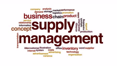 leverancier : Supply management geanimeerde word cloud. Stockvideo