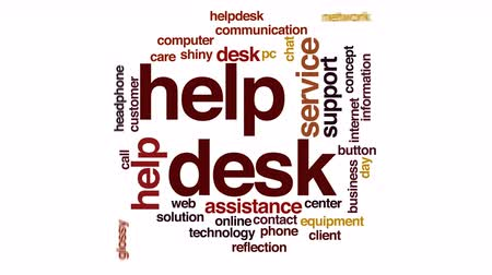 contact opnemen : Helpdesk geanimeerde word cloud.