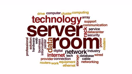 information tecnology : sala server animato word cloud. Filmati Stock