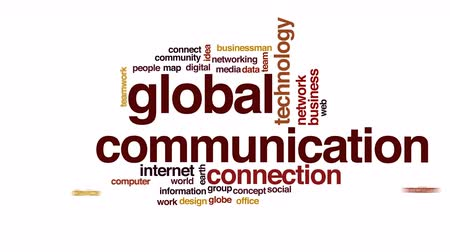 nuvem : Global communication animated word cloud. Vídeos