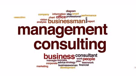 overleggen : Management consulting geanimeerde word cloud.