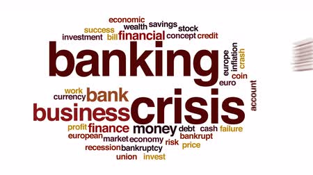 benefício : Banking crisis animated word cloud.