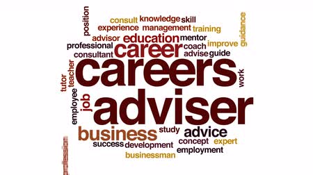 pozisyon : Careers adviser animated word cloud. Stok Video
