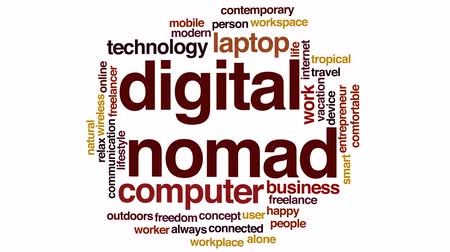 conectado : Digital nomad animated word cloud.