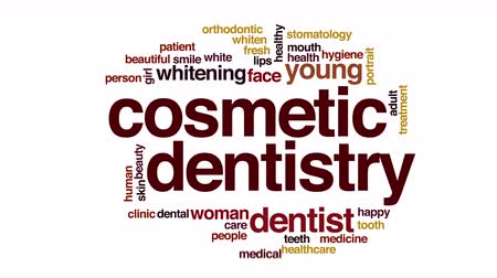 stomatologia : Cosmetic dentistry animated word cloud.