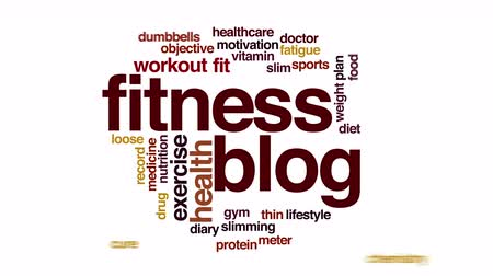 súlyzó : Fitness blog animated word cloud.