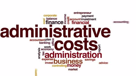 ügyintézés : Administrative costs animated word cloud. Stock mozgókép