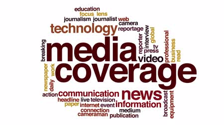 фокус : Media coverage animated word cloud.