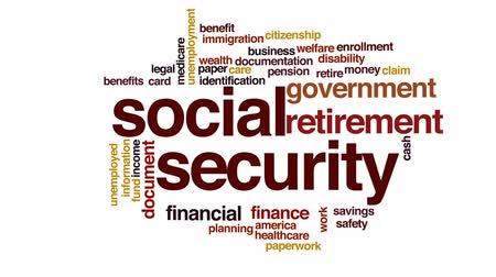 enrollment : Social security animated word cloud, text design animation.
