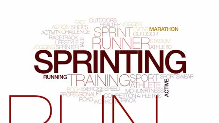 sprintel : Sprinting animated word cloud, text design animation. Kinetic typography. Stock mozgókép