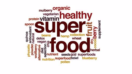 suplemento : Superfood animated word cloud, text design animation. Stock Footage
