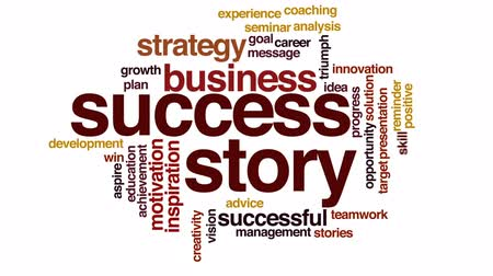 aspire : Success story animated word cloud, text design animation. Stock Footage