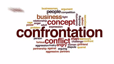 rywalizacja : Confrontation animated word cloud, text design animation.