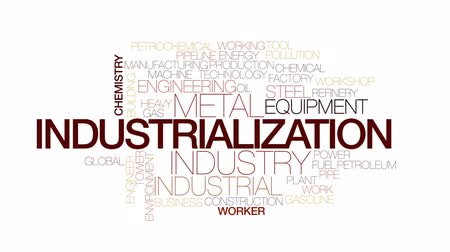 industrialization : Industrialization animated word cloud, text design animation. Kinetic typography.