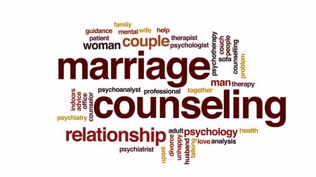 counselling : Marriage counseling animated word cloud, text design animation. Stock Footage
