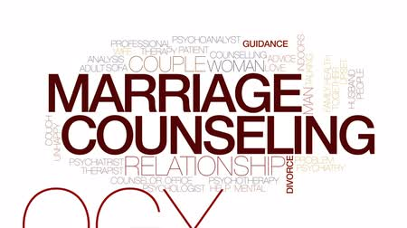 counselling : Marriage counseling animated word cloud, text design animation. Kinetic typography.