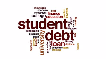 bez szwu : Student debt animated word cloud, text design animation. Wideo