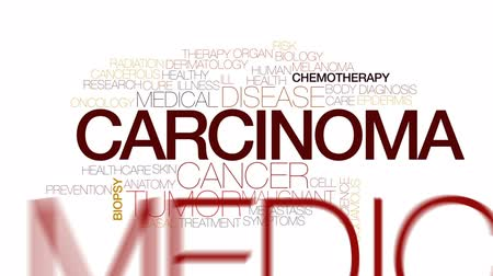 oncology : Carcinoma animated word cloud, text design animation. Kinetic typography.