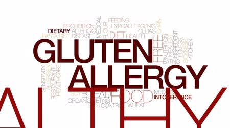 allergen : Gluten allergy animated word cloud, text design animation. Kinetic typography.
