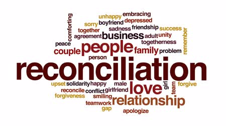 reconcile : Reconciliation animated word cloud, text design animation.