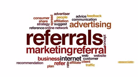 weboldal : Referrals animated word cloud, text design animation.