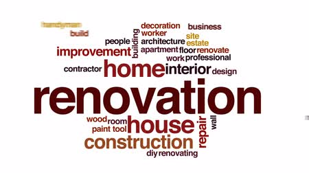 trabalhador manual : Renovation animated word cloud, text design animation.