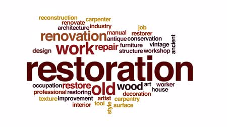 restorer : Restoration animated word cloud, text design animation. Stock Footage