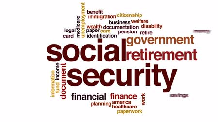 identifikace : Social security animated word cloud, text design animation.