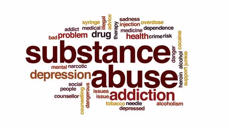 counselling : Substance abuse animated word cloud, text design animation. Stock Footage