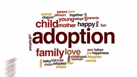 przyjęcie : Adoption animated word cloud, text design animation.