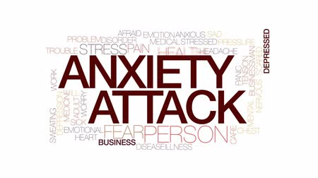 preocupar se : Anxiety attack animated word cloud, text design animation. Kinetic typography.