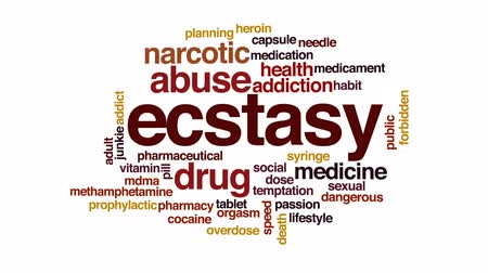 aşırı doz : Ecstasy animated word cloud, text design animation. Stok Video
