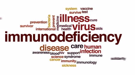 proti : Immunodeficiency animated word cloud, text design animation.