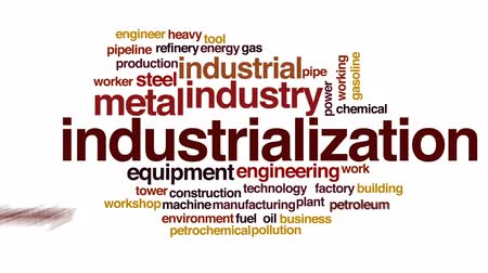 budova : Industrialization animated word cloud, text design animation.