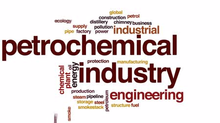 petroleum refinery : Petrochemical industry animated word cloud, text design animation.