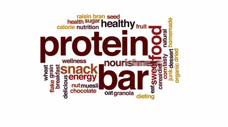 proteínas : Protein bar animated word cloud, text design animation.