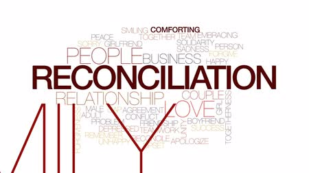 reconcile : Reconciliation animated word cloud, text design animation. Kinetic typography.