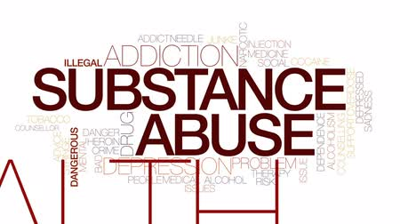 counselling : Substance abuse animated word cloud, text design animation. Kinetic typography.