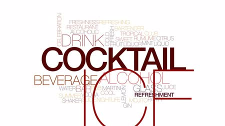 шейкер : Cocktail animated word cloud, text design animation. Kinetic typography.
