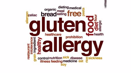 soy : Gluten allergy animated word cloud, text design animation. Stock Footage