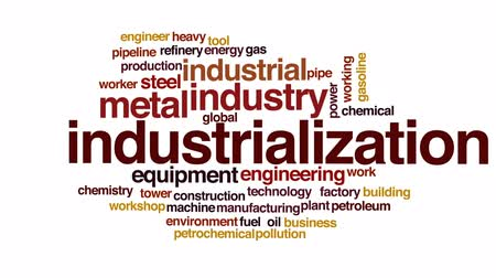 industrialization : Industrialization animated word cloud, text design animation.