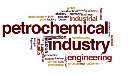 bez szwu : Petrochemical industry animated word cloud, text design animation.
