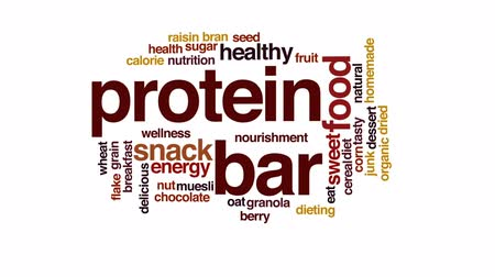 oat flakes : Protein bar animated word cloud, text design animation.