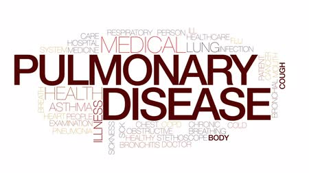 prova : Pulmonary disease animated word cloud, text design animation. Kinetic typography.