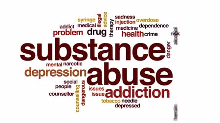 abuso : Substance abuse animated word cloud, text design animation. Stock Footage