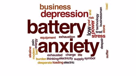 vyčerpání : Battery anxiety animated word cloud, text design animation.