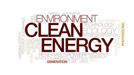 sustainable resources : Clean energy animated word cloud, text design animation. Kinetic typography.