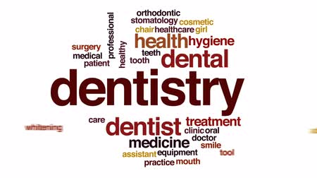 healthy office : Dentistry animated word cloud, text design animation.